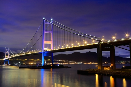 night scene of Tsing Ma bridge photo