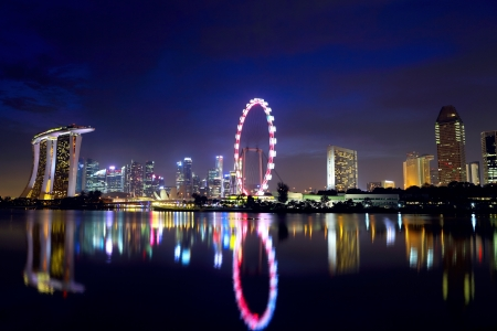 singapore culture: Singapore city skyline at night Stock Photo