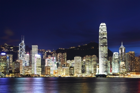 hong kong harbour: Hong Kong night Stock Photo