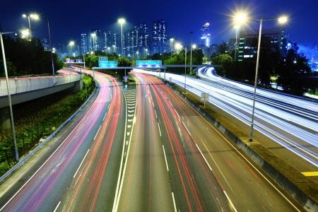 traffic light trails at night Stock Photo - 17302801