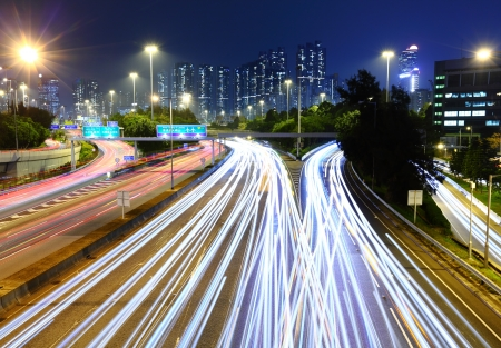 light trail: Traffic Light Trail on a Highway  Stock Photo