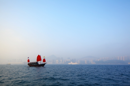 Junk boat in Hong Kong photo