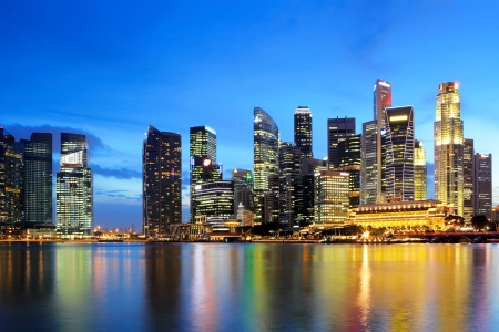jachthaven: Skyline van Singapore