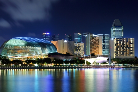 Singapore skyline at night photo