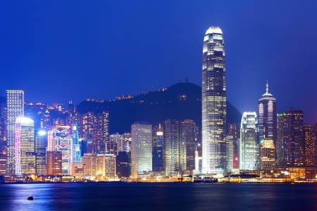 Hong Kong Skyline por la noche photo