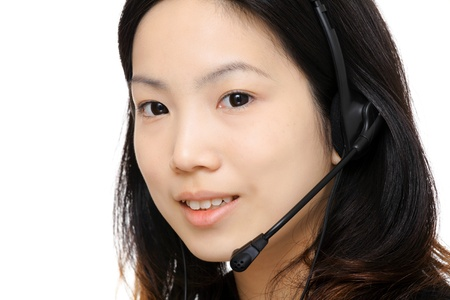 asian woman assistant wearing headset photo