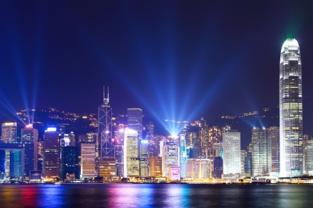 Hong Kong city skyline view at night photo