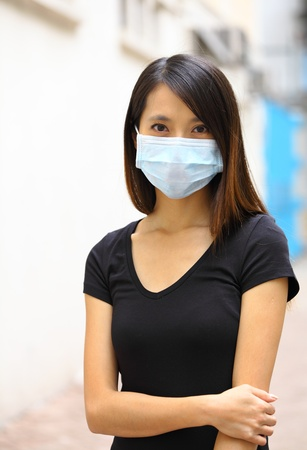 Asian woman wearing face mask photo