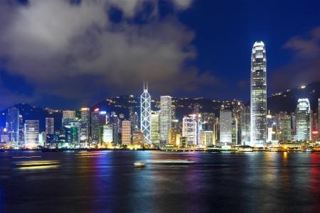 홍콩 밤 도시의 스카이 라인