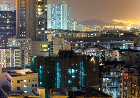 Hong Kong downtown building at night photo