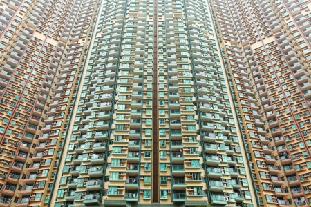 Over crowded apartment block in Hong Kong