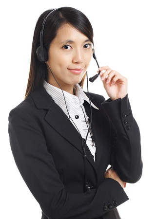 Call center business woman with headset photo