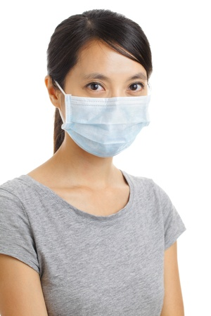 dust mask: Asian woman with face mask isolated on white