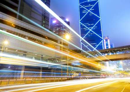 blur: City traffic at night in Hong Kong
