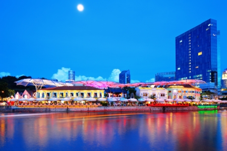 Singapore city and river by night photo