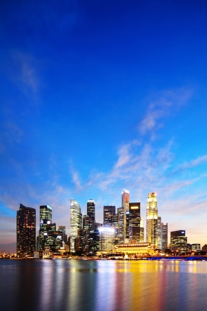 Singapore Marina Bay Business District at night