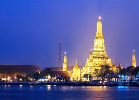 Wat Arun in Bangkok at night photo