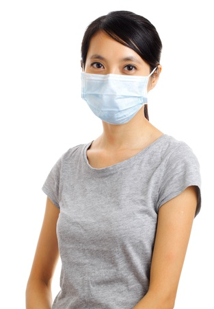 dust mask: woman with protective face mask isolated on white