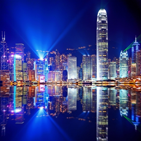 city by night: Hong Kong Island from Kowloon Stock Photo