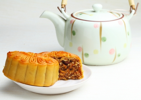 Chinese teapot with mooncake photo