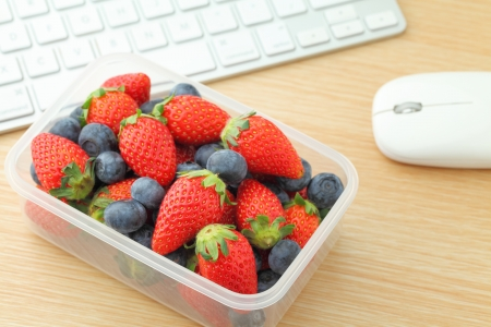 Healthy lunch box at office photo