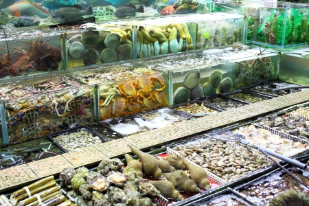 Fish tank in market photo