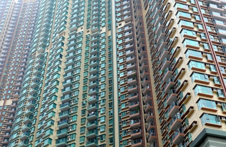 Exterior of apartment building in Hong Kong  photo