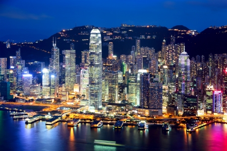 Hong Kong city at evening photo