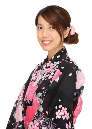 Young woman wearing Japanese kimono photo