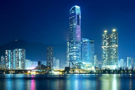 wan: Tsuen Wan in Hong Kong at night Stock Photo