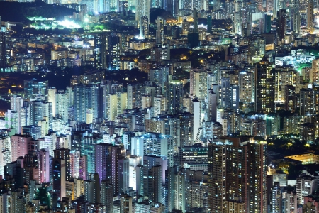 Crowded downtown building in Hong Kong photo