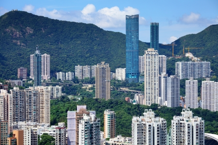 residential tree service: Building on mountain in Hong Kong Stock Photo