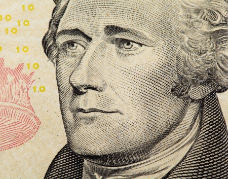 alexander hamilton: Alexander Hamilton sulla US dieci dollari banconota da vicino
