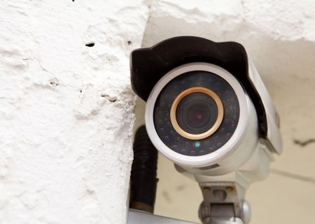Wall mounted surveillance camera photo