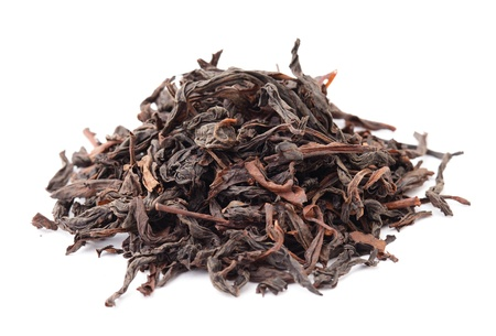 theine: Chinese black tea isolated on white background
