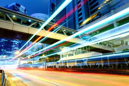 pedestrian bridge: Hong Kong traffic at night Stock Photo