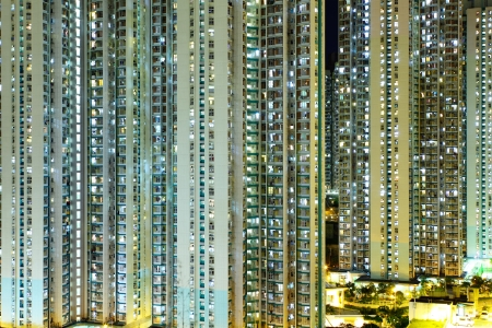 Illuminated residential building in Hong Kong  Stock Photo - 20427941