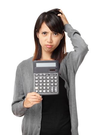 anguished: Asian woman holding calculator