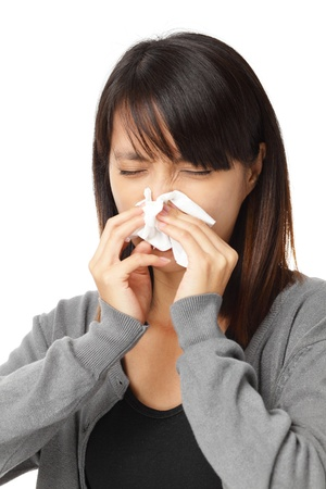 Cold sneezing asian woman Stock Photo - 20558400