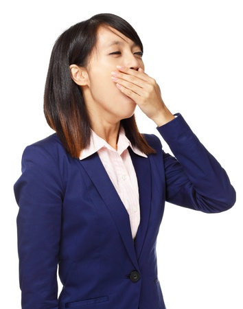 fatigued: Asian woman feel tired