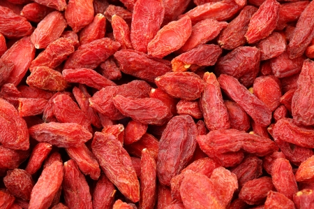 Dried wolfberry fruit close up  photo