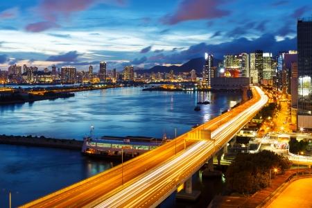 Hong Kong city at night Banco de Imagens