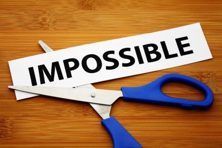 prefix: Impossible word with scissors Stock Photo