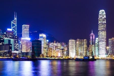 Hong Kong city at night photo