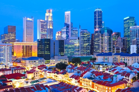 Singapore city downtown at night