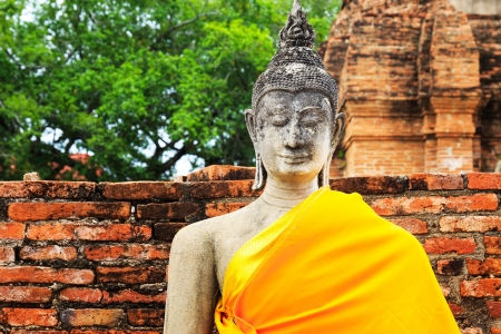 Ancient Buddha in Ayuthaya, Thailand photo