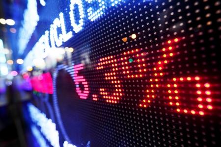 bolsa de valores: Stock display ca�da de los precios de mercado