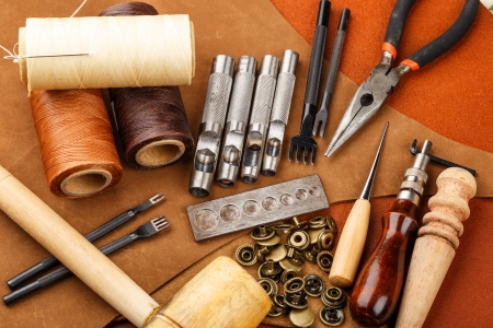 castles needle: Craft tool for leather accessories Stock Photo