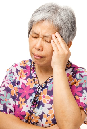 Mature asian woman feel headache photo