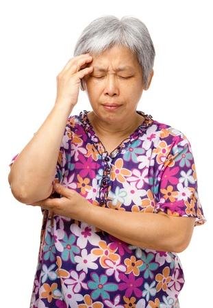 Old woman seusly headache Stock Photo - 21353035